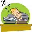 Slacking Businessman Sleeping On Top Of His Paperwork — Stock Vector