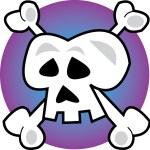 Human Skull And Crossbones Jolly Roger Over Purple — Stock Vector