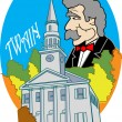 Mark Twain Over The First Congregational Church In Litchfield - Stock Vector