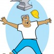 Stock Vector: Construction Worker Jumping Back To Avoid Being Hit By Falling Anvil