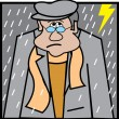 Stock Vector: Sad Man Walking Outside In A Lightning And Rain Storm