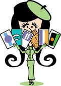 Credit card girl — Stock Vector