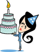 Girl With Birthday Cake — Vector de stock