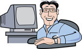 Geeky man in glasses sitting by his computer — Stock Vector
