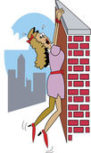 Damsel In Distress Hanging From A Wall High Above A City — Stock Vector