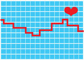 Red Line Over A Graph With A Heart On A Heart Monitor — Stock Vector