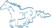 青で野生の馬を実行 — ストックベクタ