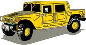 Veicolo di h2 hummer giallo grande con un letto di camion — Vettoriale Stock