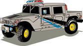 大灰警察巡逻悍马 h2 车 — 图库矢量图片
