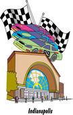 Los autos de carrera del motor speedway y banderas encima de un edificio en indianapolis — Vector de stock