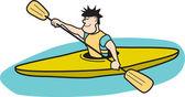 Man Kayaking — Stock Vector