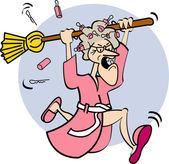 Angry Granny In A Robe Angry Granny In A Robe — Stock Vector