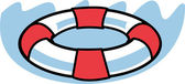 Red And White Round Life Preserver In Water — Stock Vector