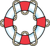 Red And White Life Preserver Ring With A Rope — Stock Vector