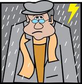 可悲的男人走出屋外的闪电和雨的风暴 — 图库矢量图片