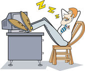 Lazy Businessman With His Feet Up On His Computer Desk — Stock Vector