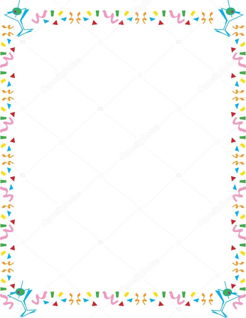 Stationery Border Of Confetti And Martini Glasses Stock