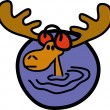 Stock Vector: Wading Moose Wearing Ear Muffs