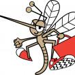 Stock Vector: Mosquito Flying With A Red Bag