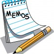 Stock Vector: Notepad With Lined Pages With Memos Written On Front