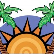 The Sun Setting Between Two Palm Trees — Imagen vectorial