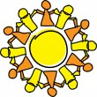 Circle of orange and yellow holding hands, symbolizing teamwork and support - Stock Vector