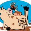Fat, Hugry Pig Chowing Down On Ribs And Bbq Sauce - Stock Vector