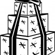 Black And White Tower Of Three Wrapped Presents — Stock Vector