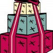 Royalty-Free Stock Imagen vectorial: Tower Of Three Wrapped Presents