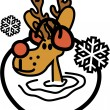 Cute Reindeer Wearing Earmuffs In The Snow — Stock Vector