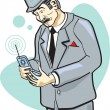 Retro Businessman Using A Cell Phone — Stock Vector