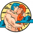 Romantic Young Nude Couple Passionately Embracing - Stock Vector