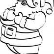Coloring Page Outline Of Santa Holding His Chest And Laughing - Stock Vector