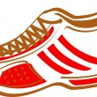 Red And White Sneaker Shoe With Brown Laces - Stock Vector