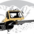Stock Vector: Snowcat Tractor Moving Snow Off Of Road In Winter