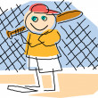 Childlike Drawing Of A Little Boy Playing Baseball, Standing At Home Base — Stock Vector