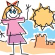 Childlike Drawing Of A Little Girl Waving And Playing By A Sandcastle — Stock Vector