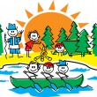 Stick Guide And Children Rowing And Making A Fire At A Camp Ground — Stock Vector
