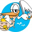 White Stork Carrying A Cute Blond Freckled Baby With A Pacifier In Its Mouth — Stock Vector