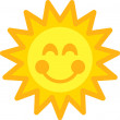 Cheery Orange And Yellow Sun Face With A Smile — Stock Vector