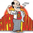 Stock Vector: A Superdad Smoking a Pipe