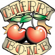 Cherry Bomb Banner And Fruit Tattoo Design - Stock Vector