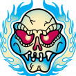 Red Eyed Evil Skull And Flames Tattoo Design — Stock Vector