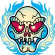 Red Eyed Evil Skull And Flames Tattoo Design — Stock Vector #17457683