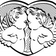 Two Black And White Victorian Cherubs - Stock Vector