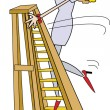 Stock Vector: WomTrying To Climb Ladder In Heels