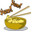 Chopsticks Lifting Food Out Of A Bowl Of Won Ton Soup - Stock Vector