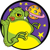 Big Fat Green Alien With A Yellow Belly And Yellow Suction Fingers Licking His Lips — Stock Vector