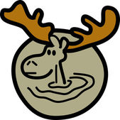 Brown Moose With Big Antlers — Stock Vector