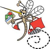 Shopping zanzara volando con carte di credito e una borsa rossa — Vettoriale Stock